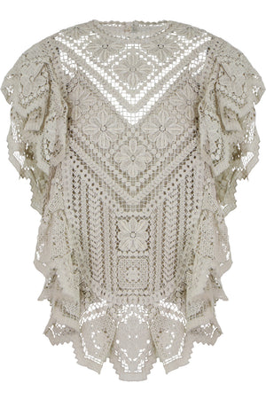 ZAINOS CROCHET BLOUSE S/LESS ECRU