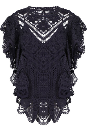 ZAINOS CROCHET BLOUSE S/LESS FADED NIGHT