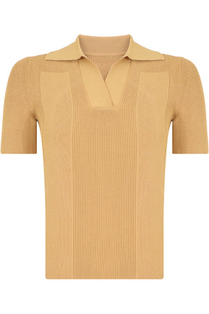 LA MAILLE POLO KNIT TOP S/S DARK YELLOW