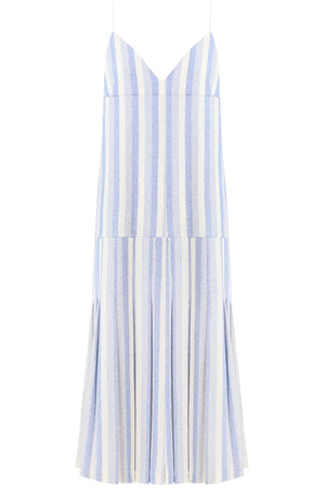 STRIPED SLIP DRESS WITH BOTTOM PLEAT BLUE