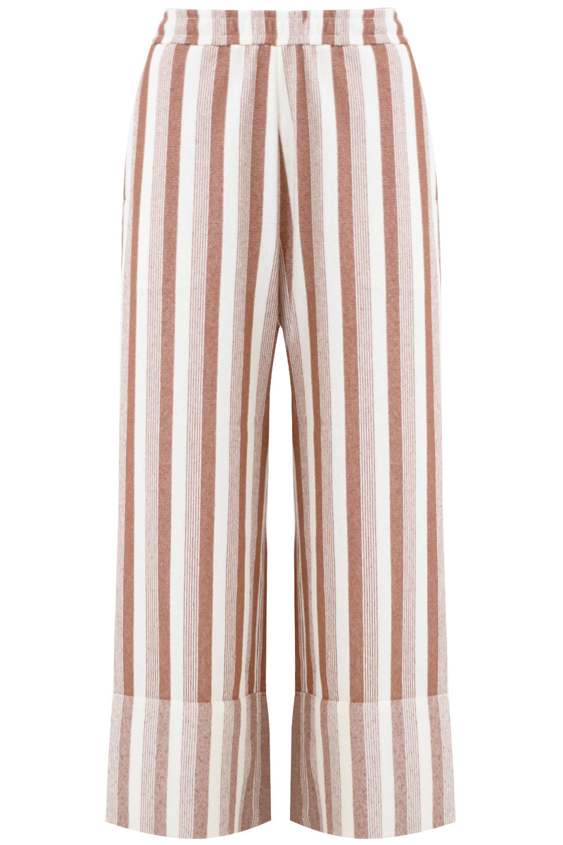 STRIPED CROPPED PANTS BRICK