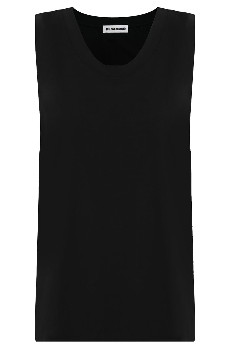 SCOOP NECK TANK TOP BLACK