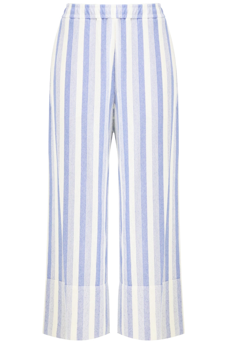 STRIPED CROPPED PANTS BLUE