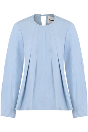FLARED SCULPTURAL BLOUSE L/S COBALT