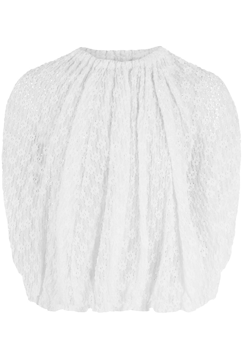 EMBROIDERED BLOUSE CAP/SL OFF WHITE