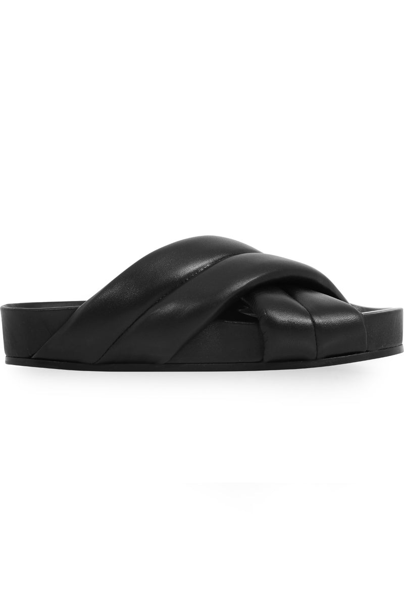 LEATHER CROSSOVER SLIDE BLACK