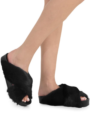 FAUX FUR CROSSOVER SLIDE BLACK