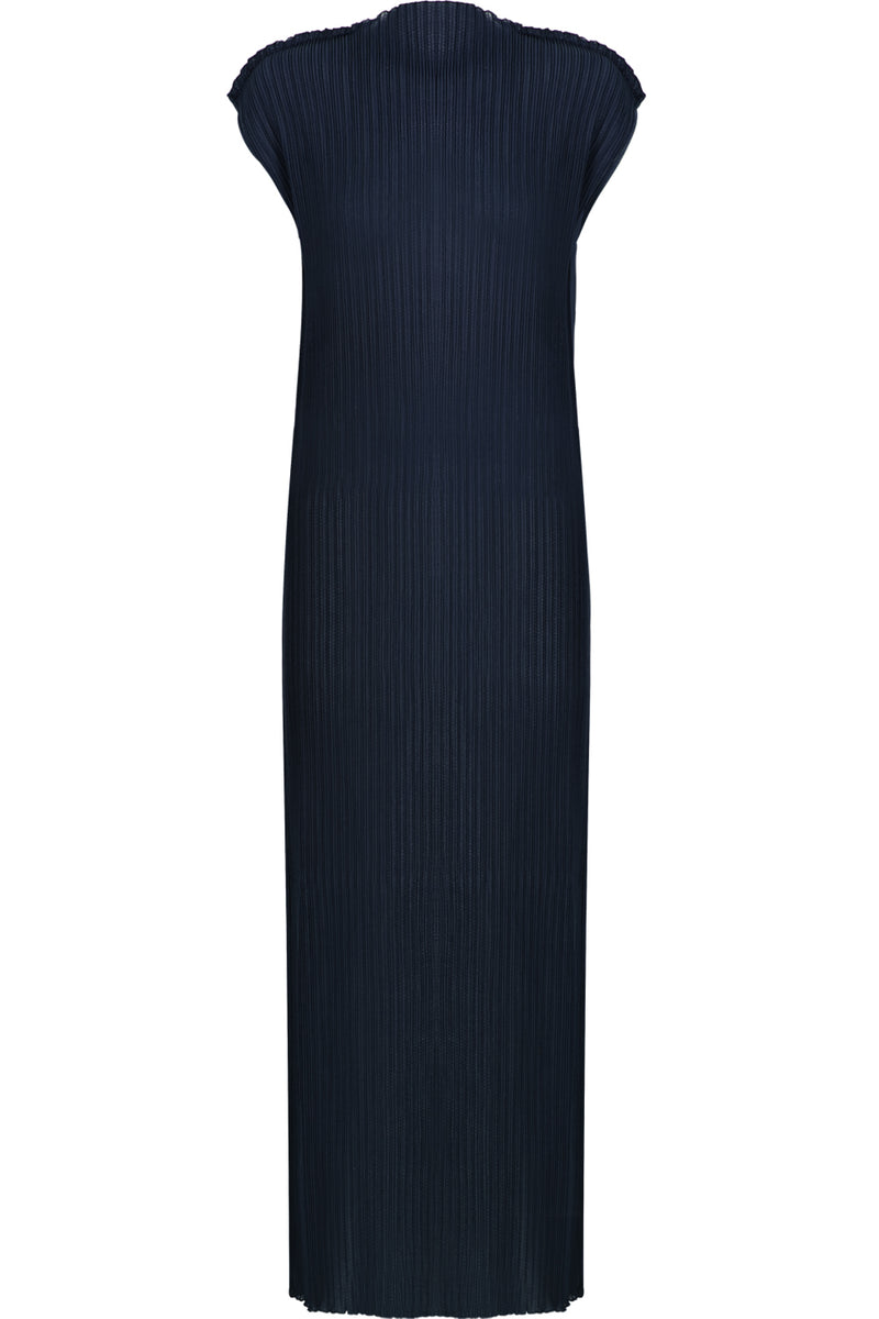 PLISSE MAXI DRESS CAP/SL NAVY