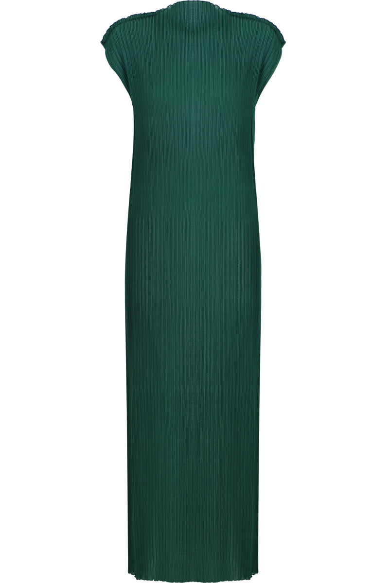 PLISSE MAXI DRESS CAP/SL GREEN