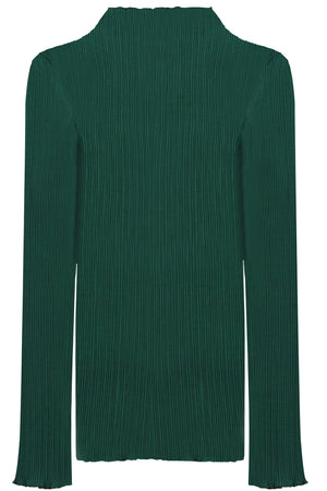 PLISSE TURTLENECK TOP L/S GREEN
