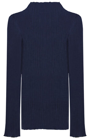 PLISSE TURTLENECK TOP L/S NAVY