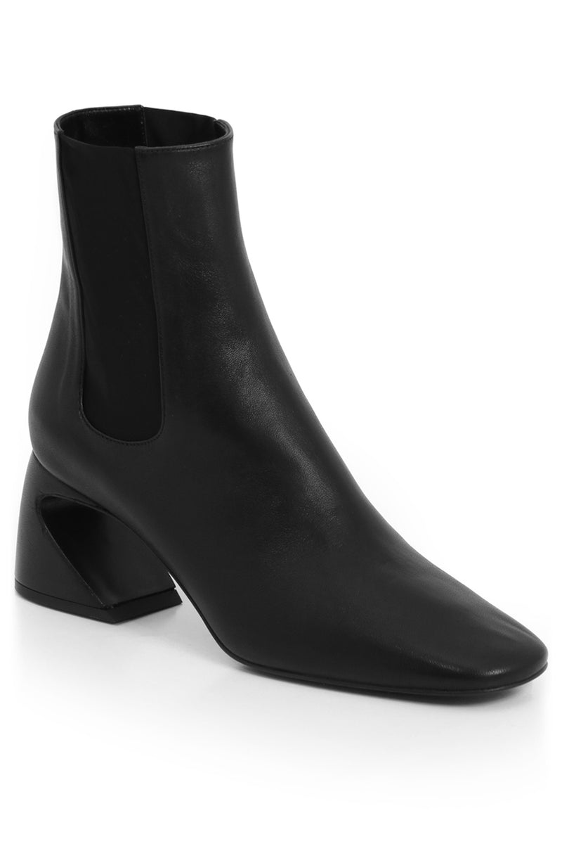 ANKLE BOOT WITH CURVED HEEL 65MM BLACK