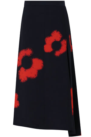 SHIBORI FLOWER PRINT SKIRT NIGHT SKY