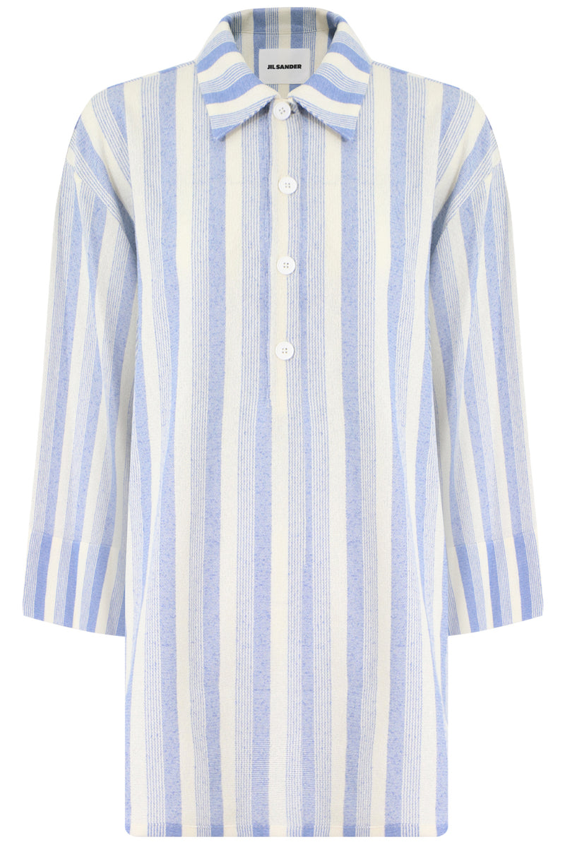 OVERSIZED STRIPE POLO SHIRT 3/4SL BLUE