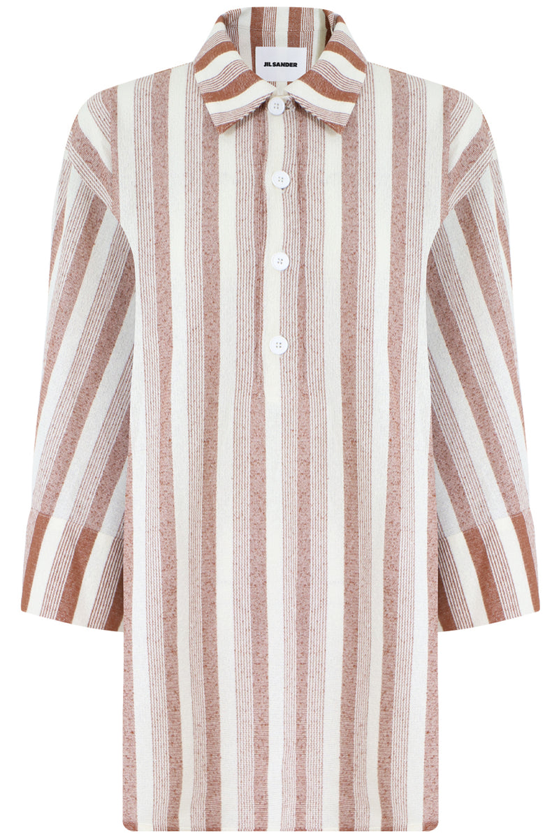 OVERSIZED STRIPE POLO SHIRT 3/4SL BRICK