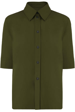 BUTTON UP SHIRT S/S FOREST GREEN