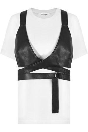 T-SHIRT WITH LEATHER BRALET WHITE/BLACK