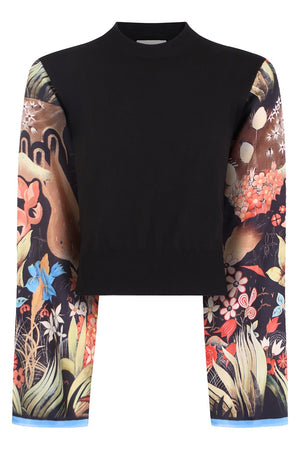 FLORAL PRINT TOP BLACK/MULTI