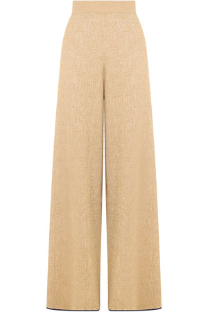 KNITTED LUREX PANTS GOLD
