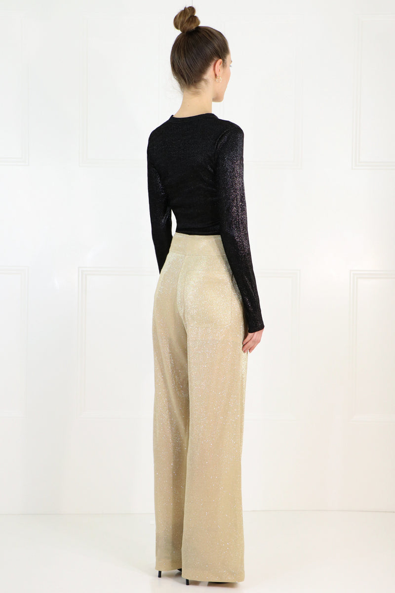 LUREX WIDE LEG PANTS GOLD