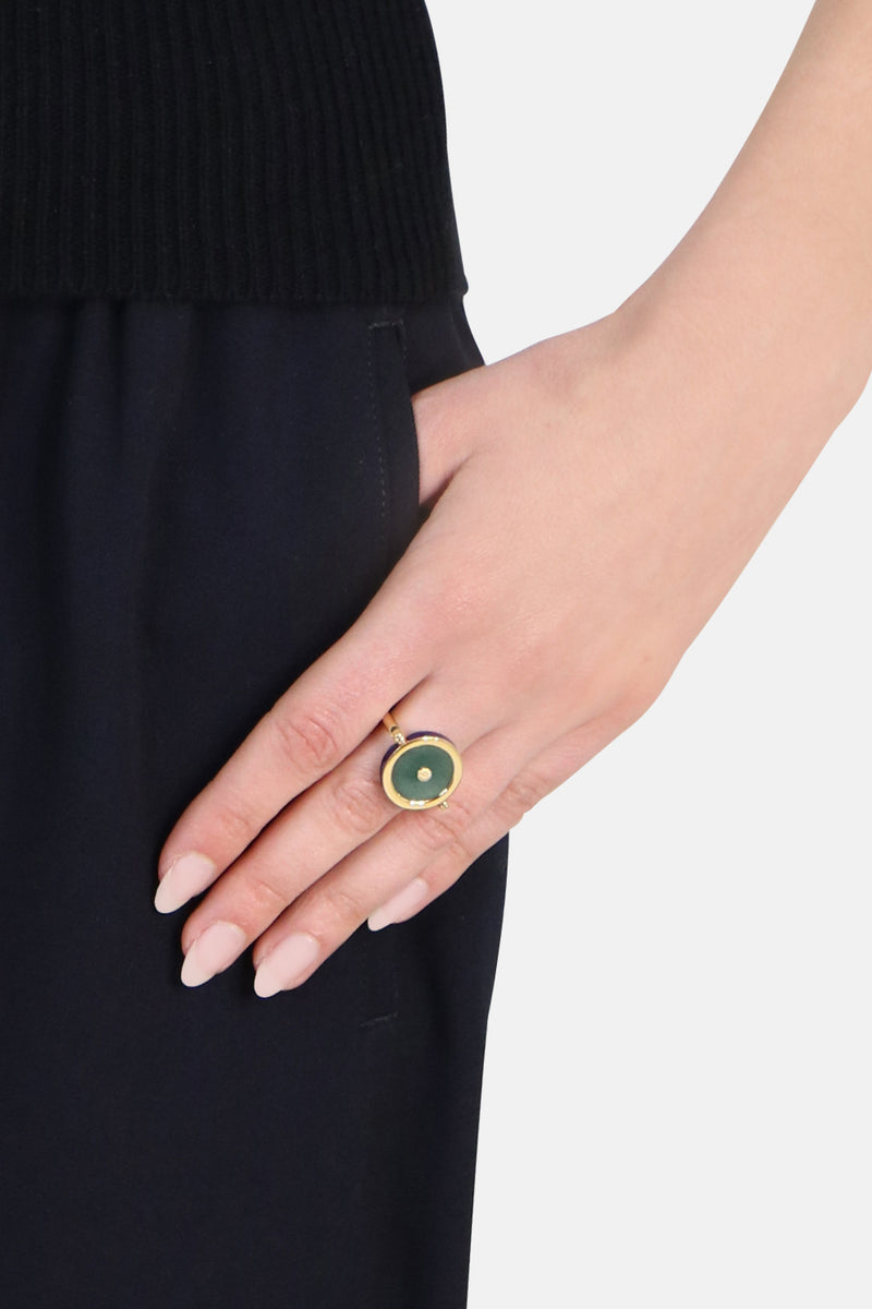SCEAUX JADE STONE SIGNET RING STORM