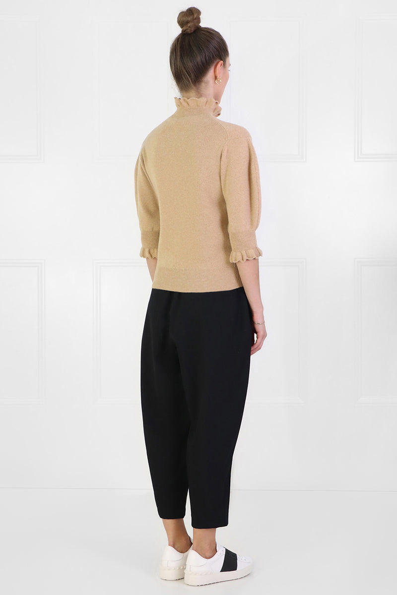 PUFF SLEEVE KNIT TOP S/S LIGHT CAMEL