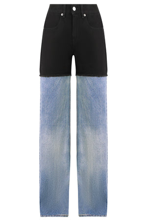 CONTRAST DENIM PANTS BLUE/BLACK