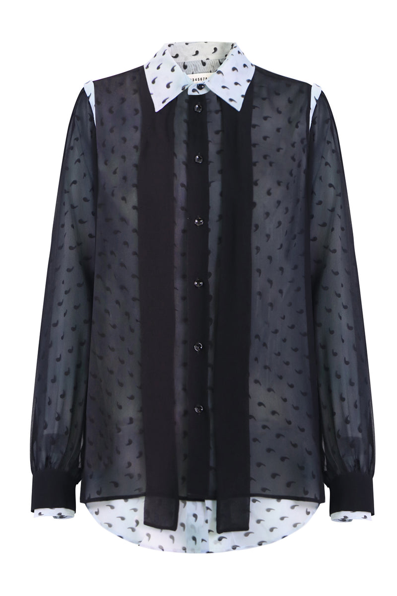 APOSTROPHE PRINT LAYERED SHIRT L/S BLACK