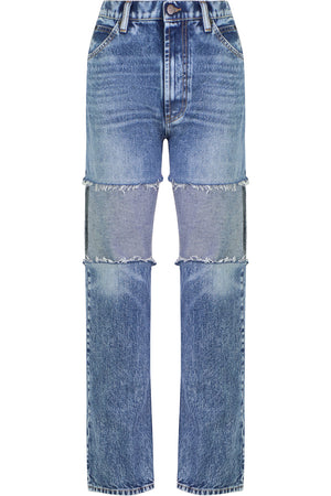 PATCHWORK JEANS BLUE DENIM