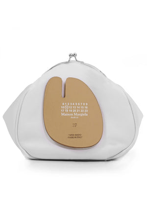 ROUND CLUTCH BAG WITH CHAIN WHITE