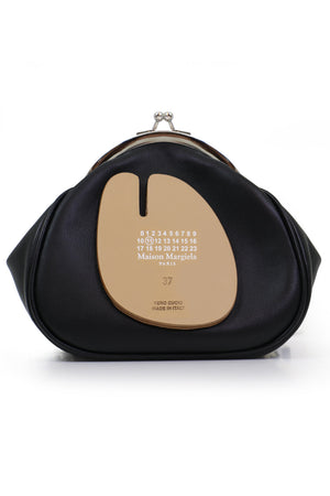 ROUND CLUTCH BAG WITH CHAIN BLACK