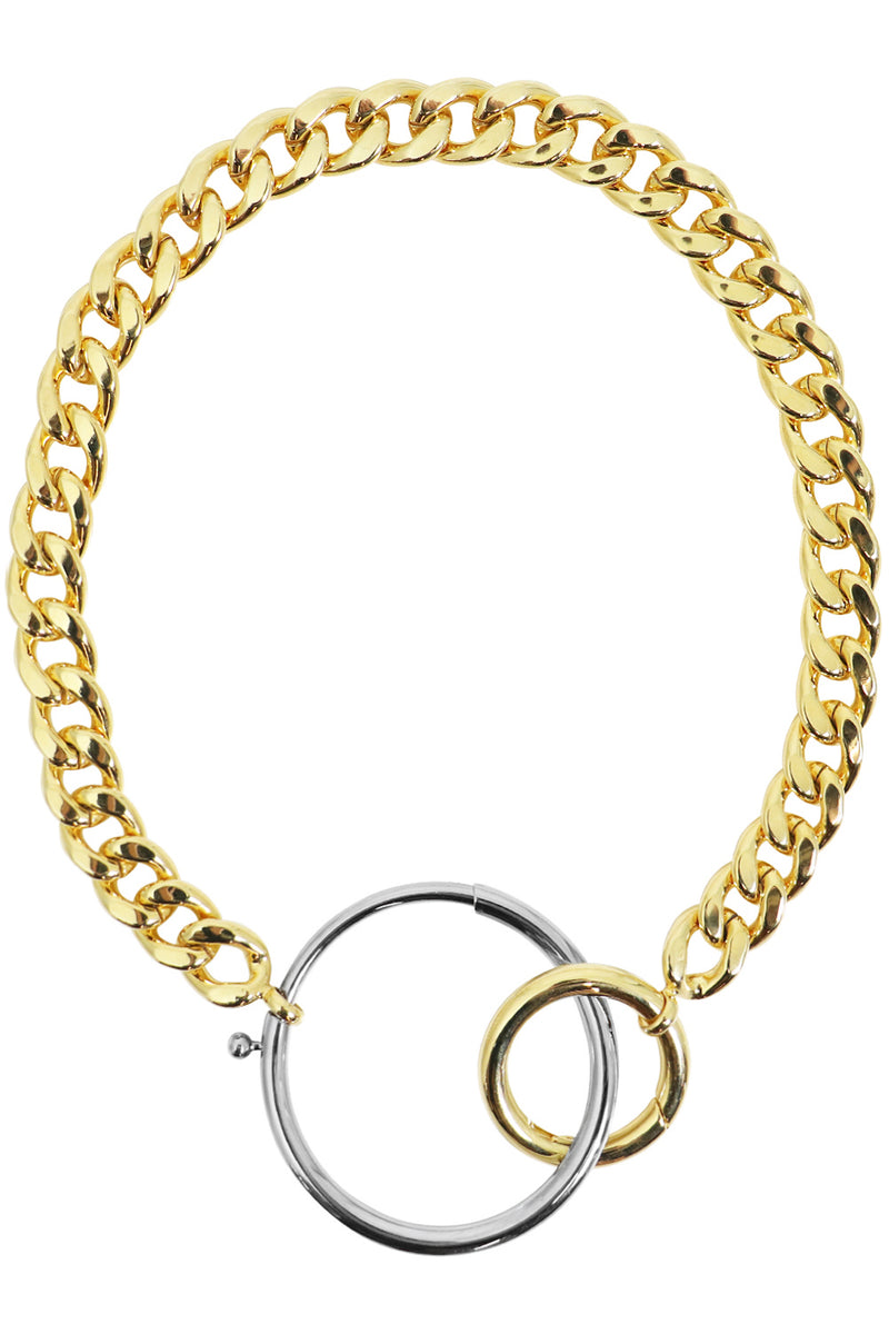 CHUNKY CONTRAST CIRCLE NECKLACE GOLD