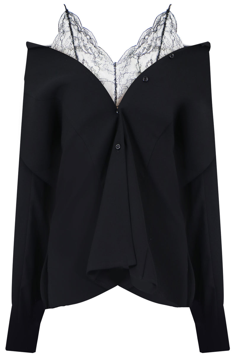 LACE UNDERLAY BLOUSE L/S BLACK