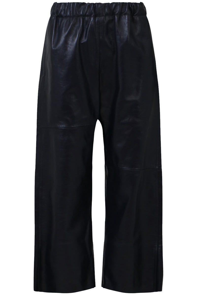 LEATHER CROP PANT NAVY