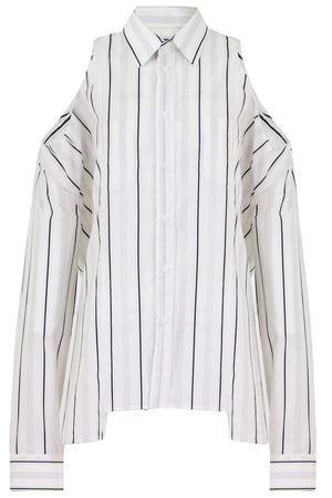 COLD SHOULDER BUTTON UP STRIPE SHIRT L/S WHITE