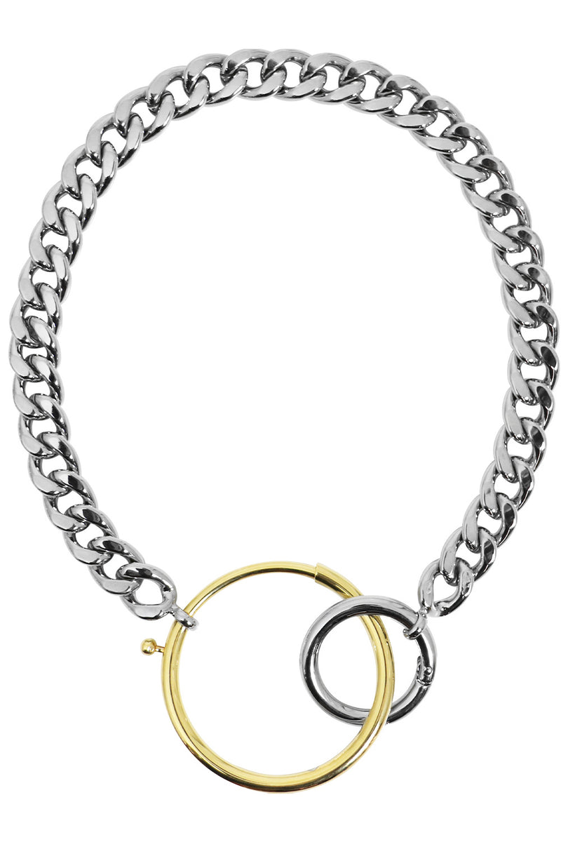 CHUNKY CONTRAST CIRCLE NECKLACE SILVER