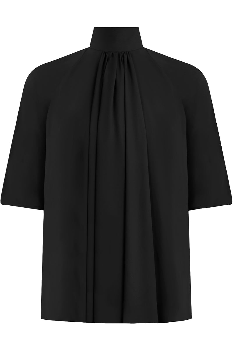 DRAPED FLUID BLOUSE S/S BLACK