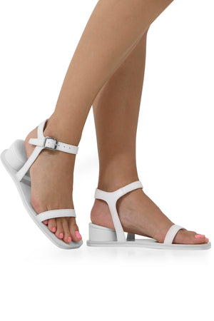 SANDAL WITH CUSHION HEEL WHITE