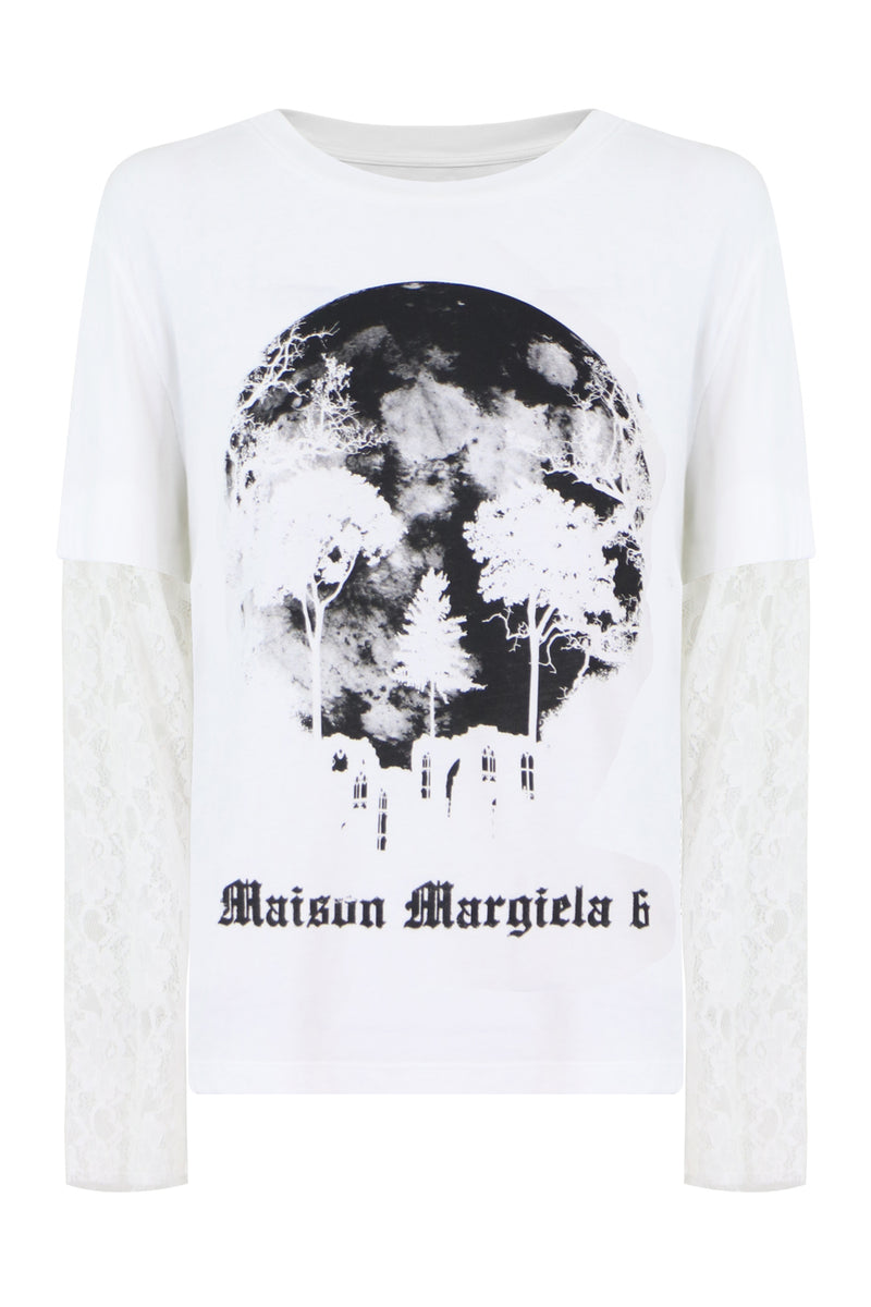 GRAPHIC L/S T-SHIRT WITH LACE SLEEVES WHITE