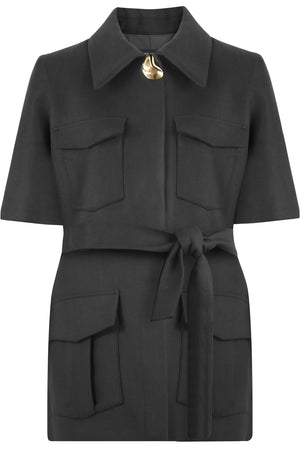 TAYLOR BELTED JACKET S/S BLACK