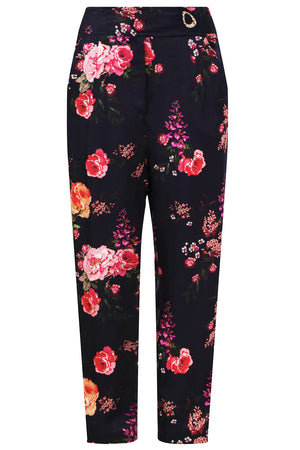CARMEN DROP CROTCH PANT HYANCINTH PRINT NAVY