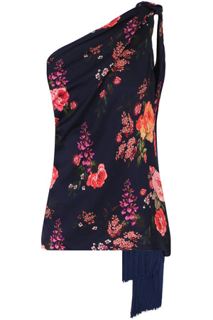 ISLA ONE SHOULDER BLOUSE HYANCINTH PRINT NAVY