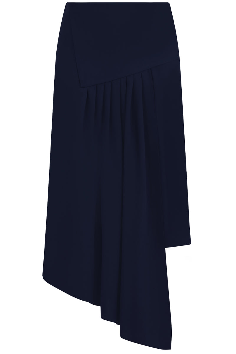 FLUID ASYMMETRIC SPLIT SKIRT NAVY
