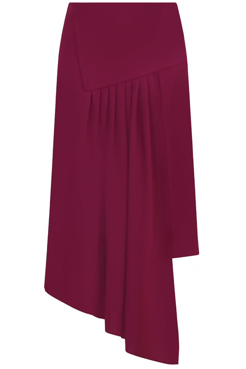FLUID ASYMMETRIC SPLIT SKIRT RASPBERRY