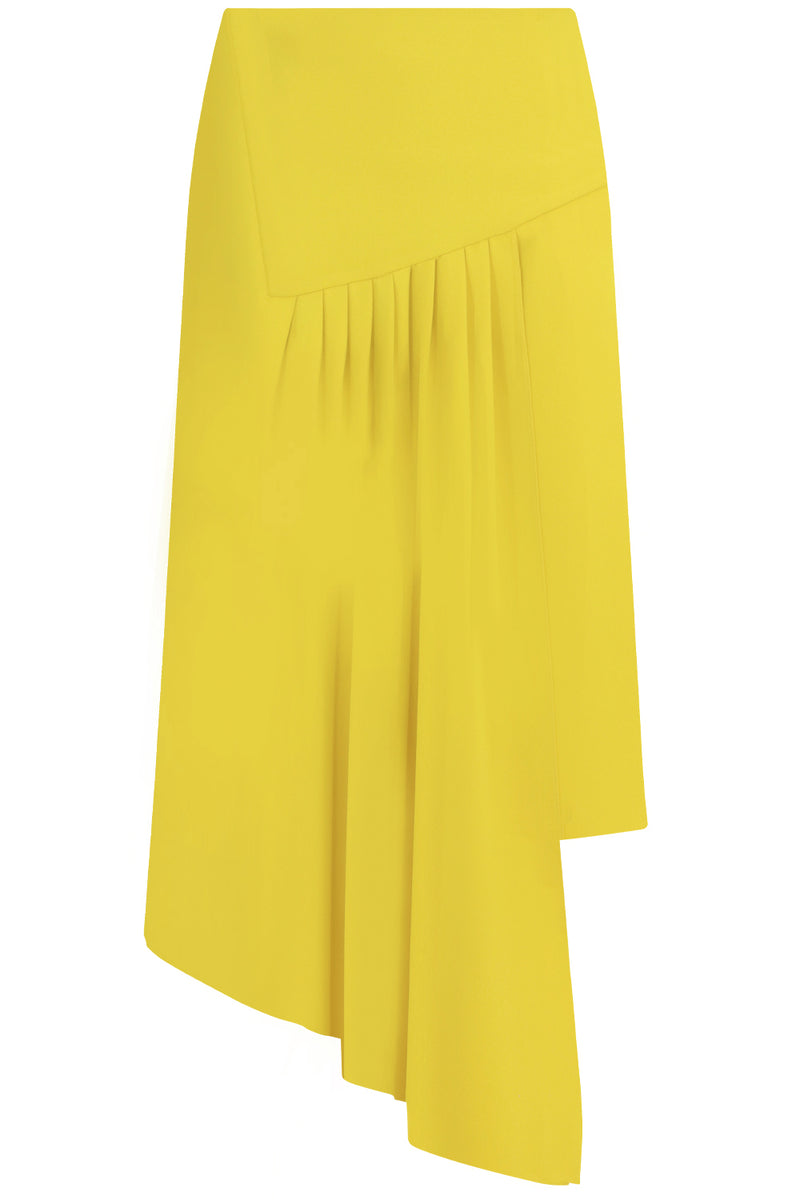 FLUID ASYMMETRIC SPLIT SKIRT YELLOW