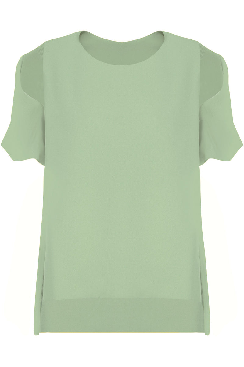 FLUID SPLIT SLEEVE BLOUSE SAGE