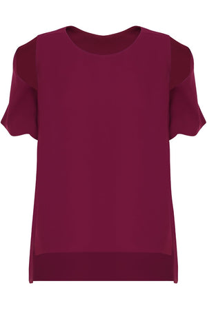 FLUID SPLIT SLEEVE BLOUSE RASPBERRY