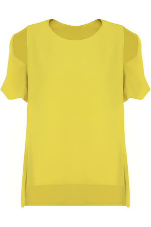 FLUID SPLIT SLEEVE BLOUSE YELLOW