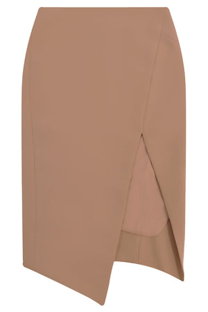 TISSUE SPLIT PENCIL SKIRT NUTMEG