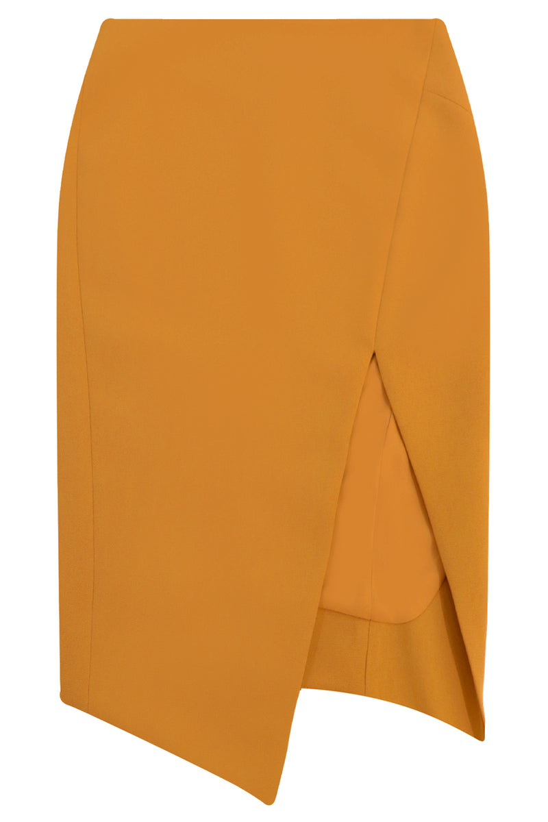 TISSUE SPLIT PENCIL SKIRT EARTH